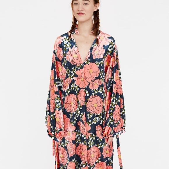 5b931a55 Zara Dresses | Final Price Velvet Floral Pink Midi Dress | Poshmark